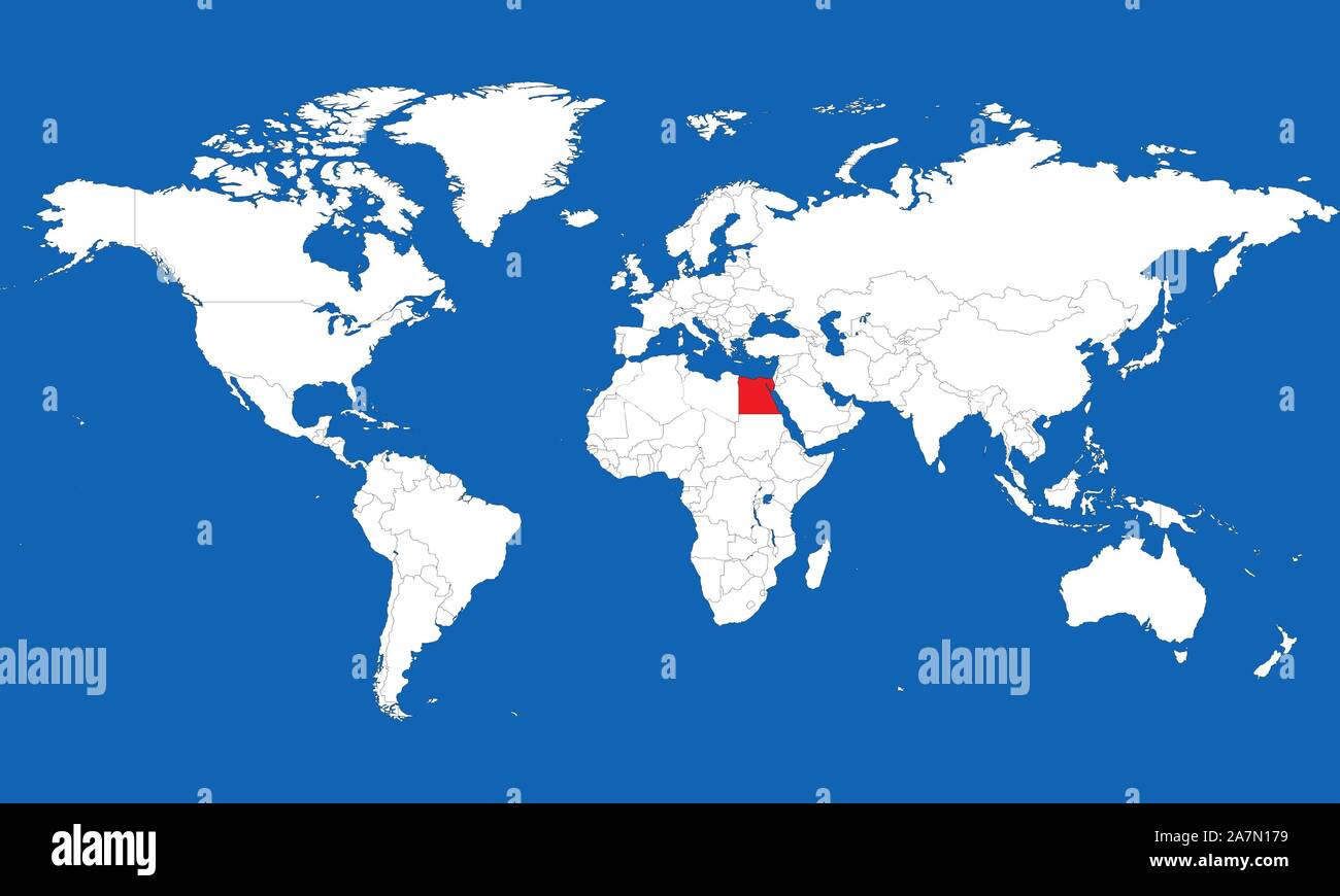 Picture of: World Map Highlighted Egypt Red Color With Boundaries Vector Illustration Stock Vector Image Art Alamy
