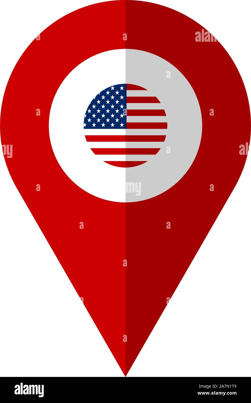 Us Map Pin Locations US flag location map pin vector illustration. United states of