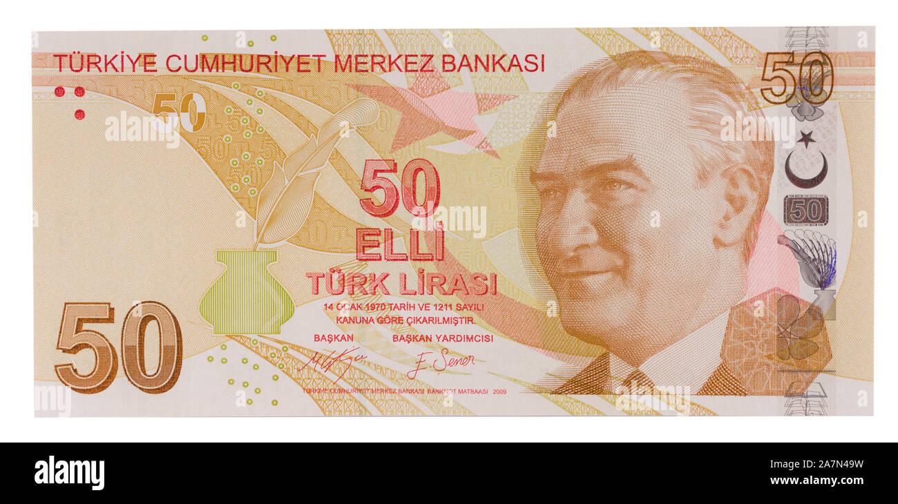 Turkish banknotes, Turkish Lira front side Stock Photo