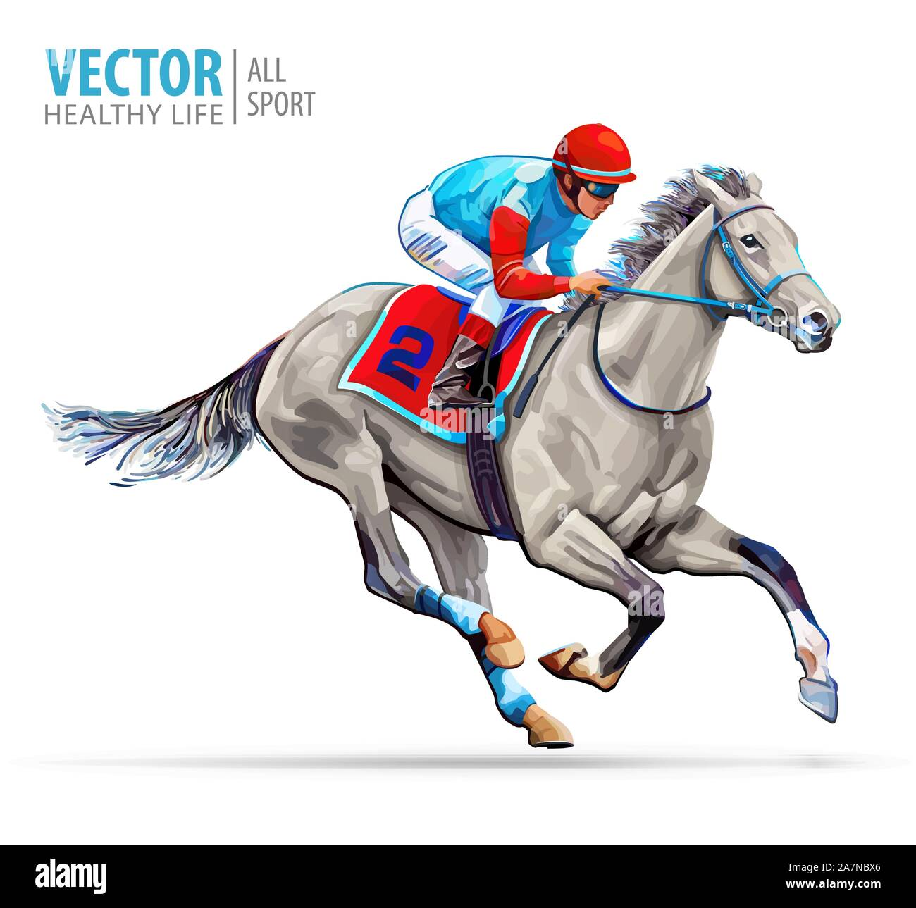 Jockey On Racing Horse Sport Champion Hippodrome Racetrack Equestrian Derby Speed Isolated On White Background Vector Illustration Stock Vector Image Art Alamy