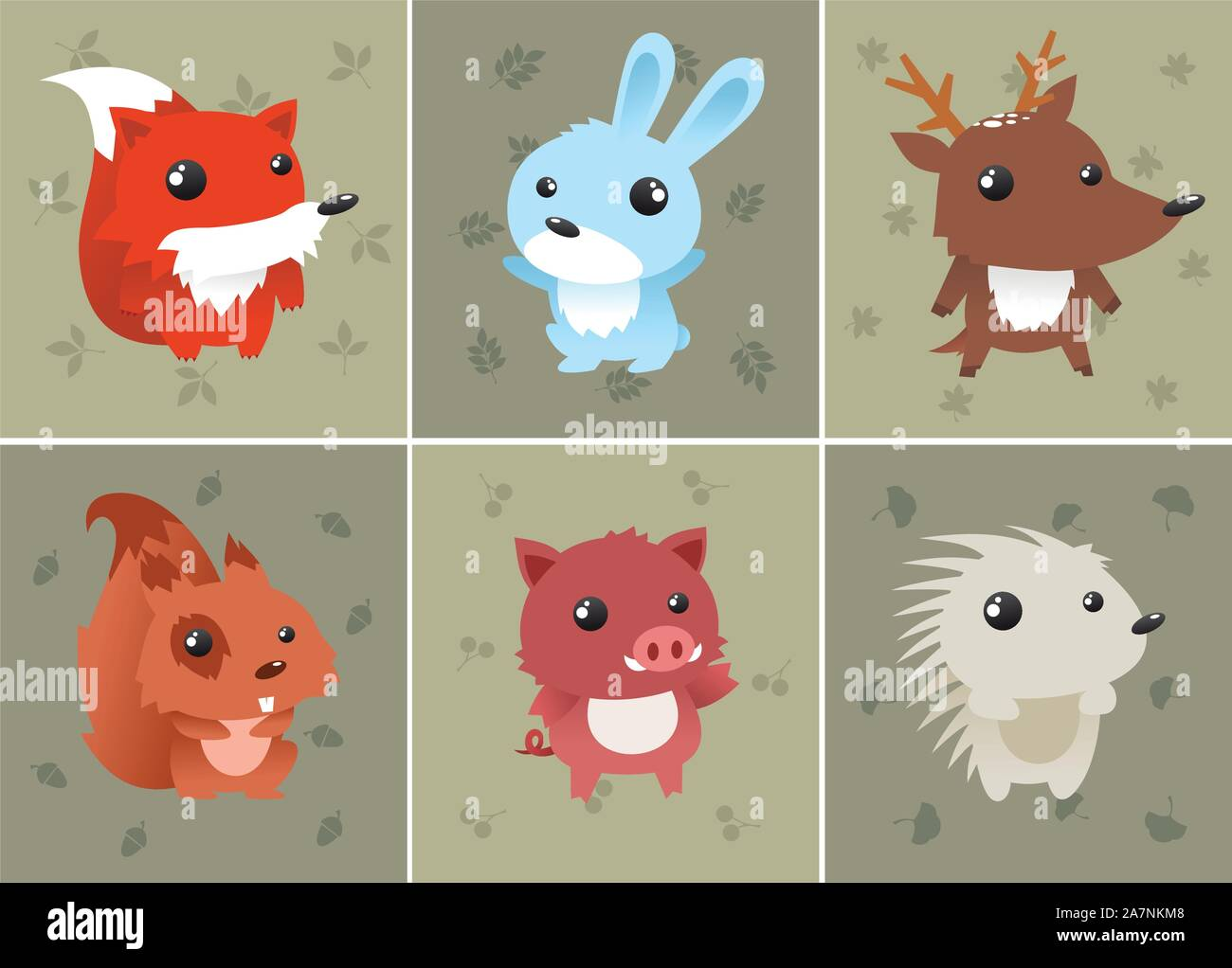 Forrest baby animals set includes: squirrel, hedgehog, fox, rabbit, deer and wild boar. Can be used as computer icons. Vector illustration. Stock Vector