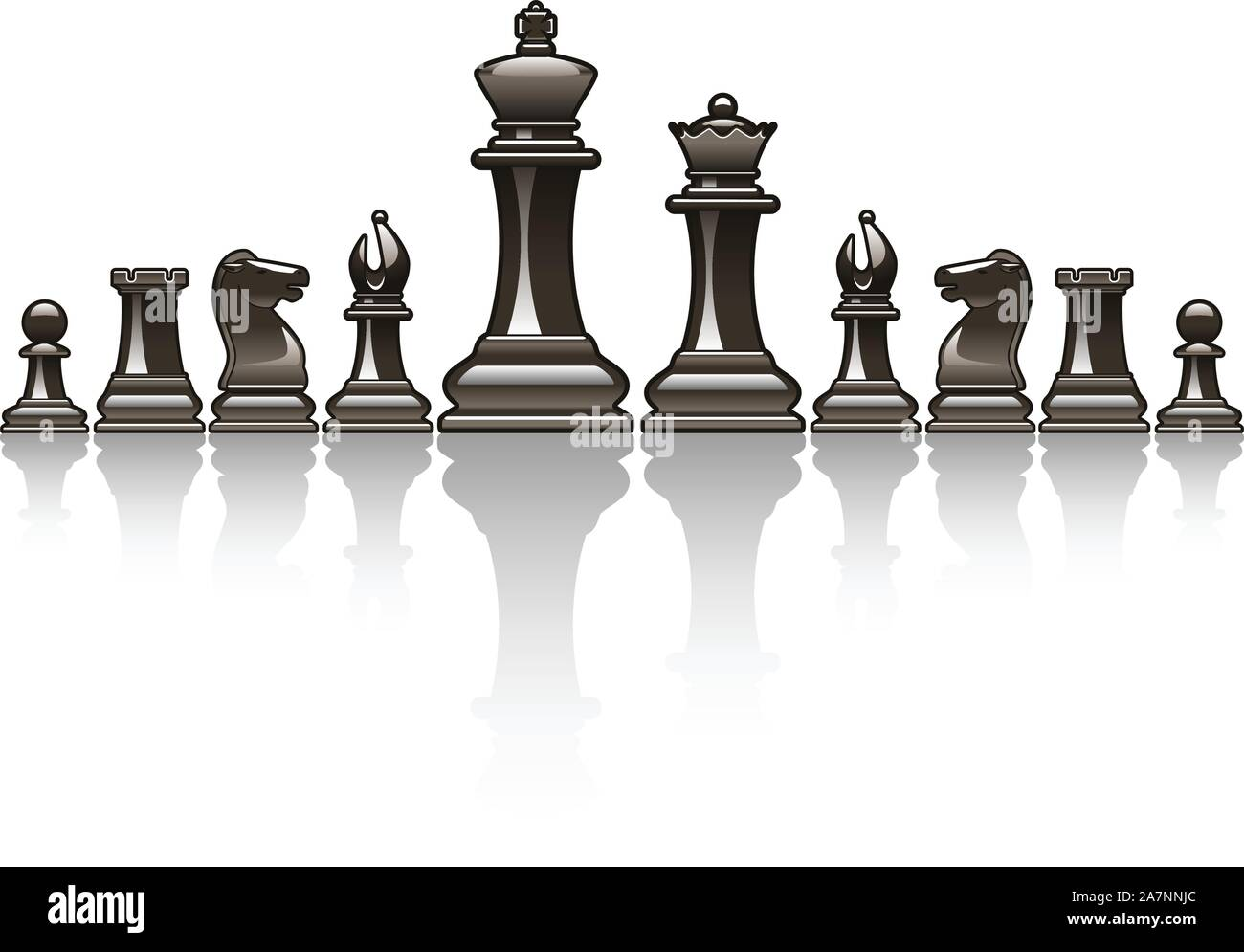 Black Chess pieces vector icon illustrations Stock Vector