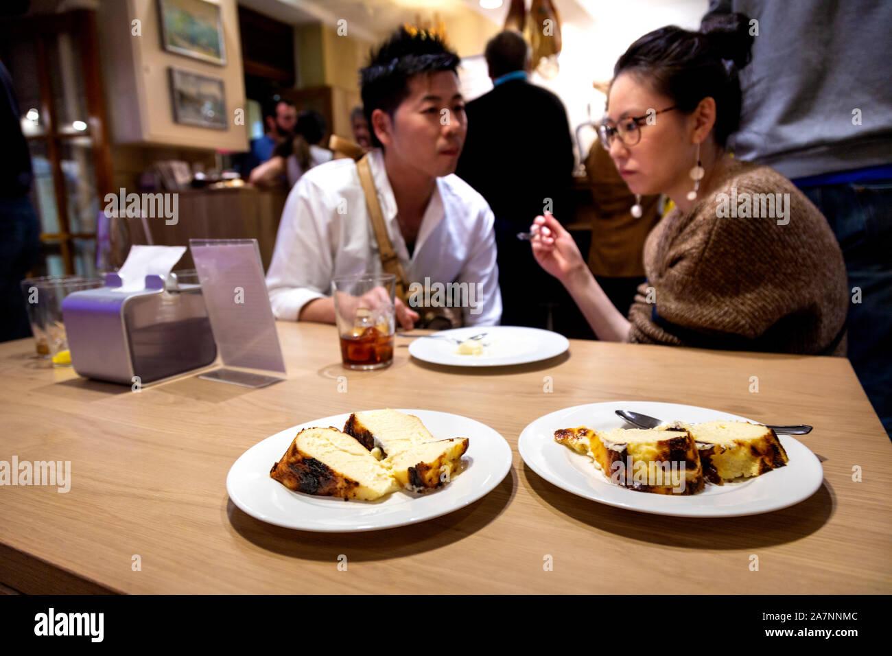 Famous Burnt Basque Cheesecake At La Vina San Sebastian Spain Stock Photo Alamy
