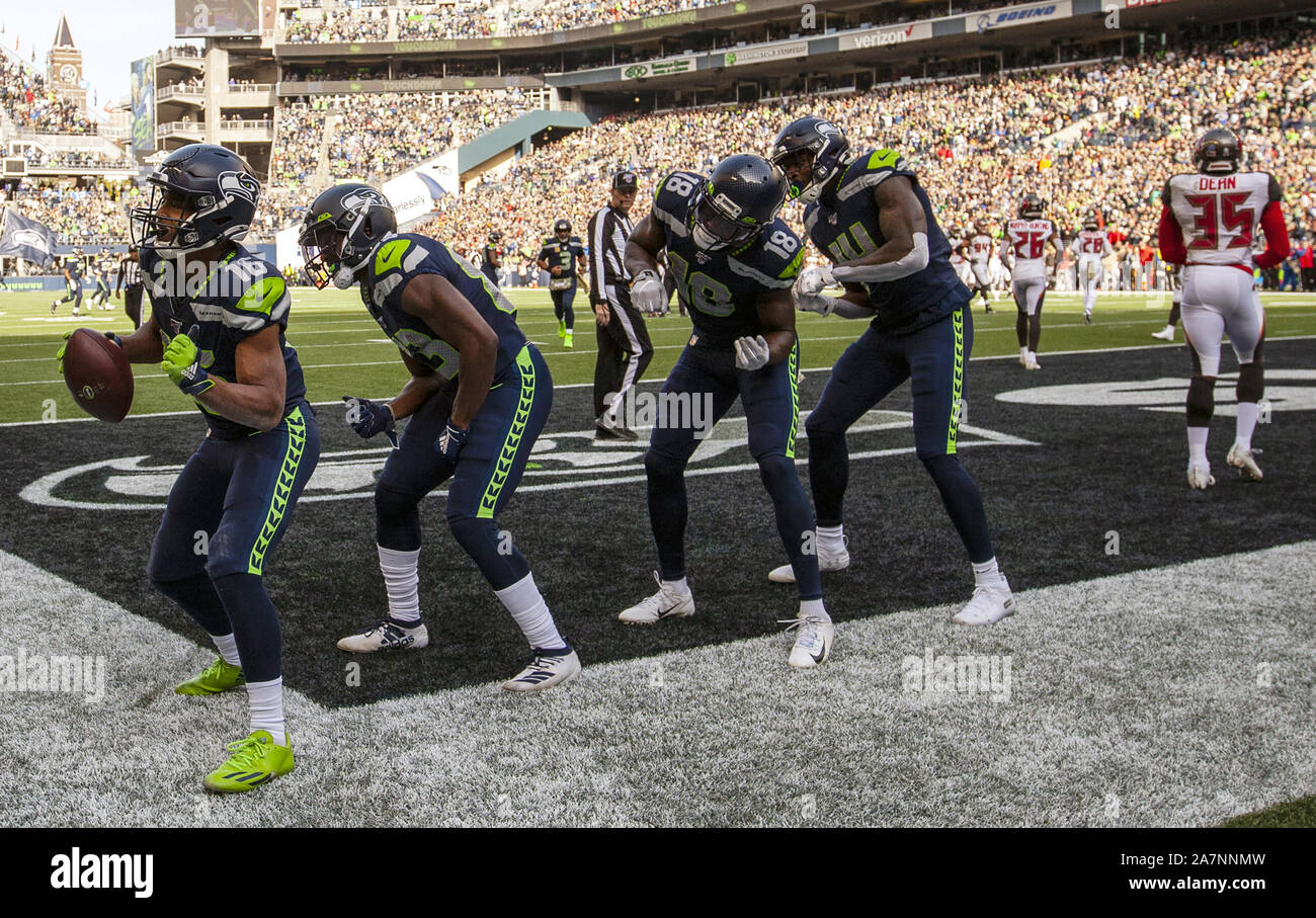 Seattle, United States. 03rd Nov, 2019. Seattle Seahawks wide receiver Tyler Lockett (16) and wide receivers dance after Lockett caught a 19-yard touchdown pass against the Tampa Bay Buccaneers during the first quarter at CenturyLink Field on Sunday, November 3, 2019 in Seattle, Washington. The Buccaneers lead the Seahawks 21-13 at halftime. Jim Bryant Photo/UPI Credit: UPI/Alamy Live News Stock Photo