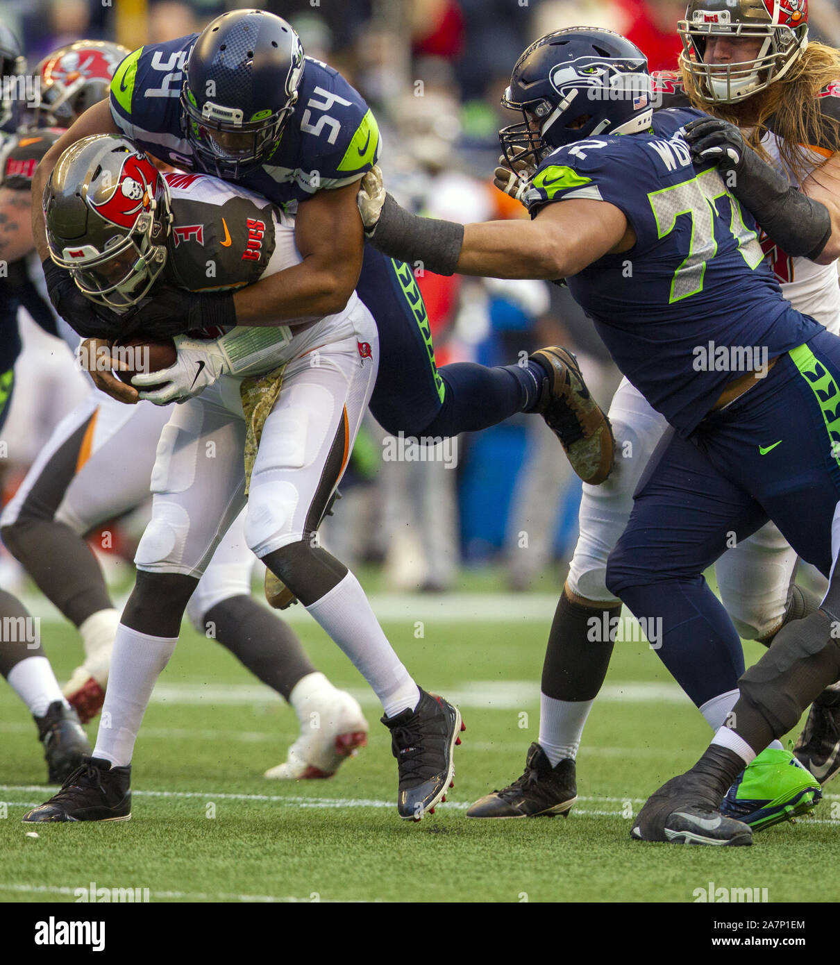 Seattle, United States. 03rd Nov, 2019. Seattle Seahawks middle linebacker Bobby Wagner (54) sacks Tampa Bay Buccaneers quarterback Jameis Winston (3) during the fourth quarter at CenturyLink Field on Sunday, November 3, 2019 in Seattle, Washington. The Seahawks beat the Buccaneers 40-34 in overtime. Jim Bryant Photo/UPI Credit: UPI/Alamy Live News Stock Photo