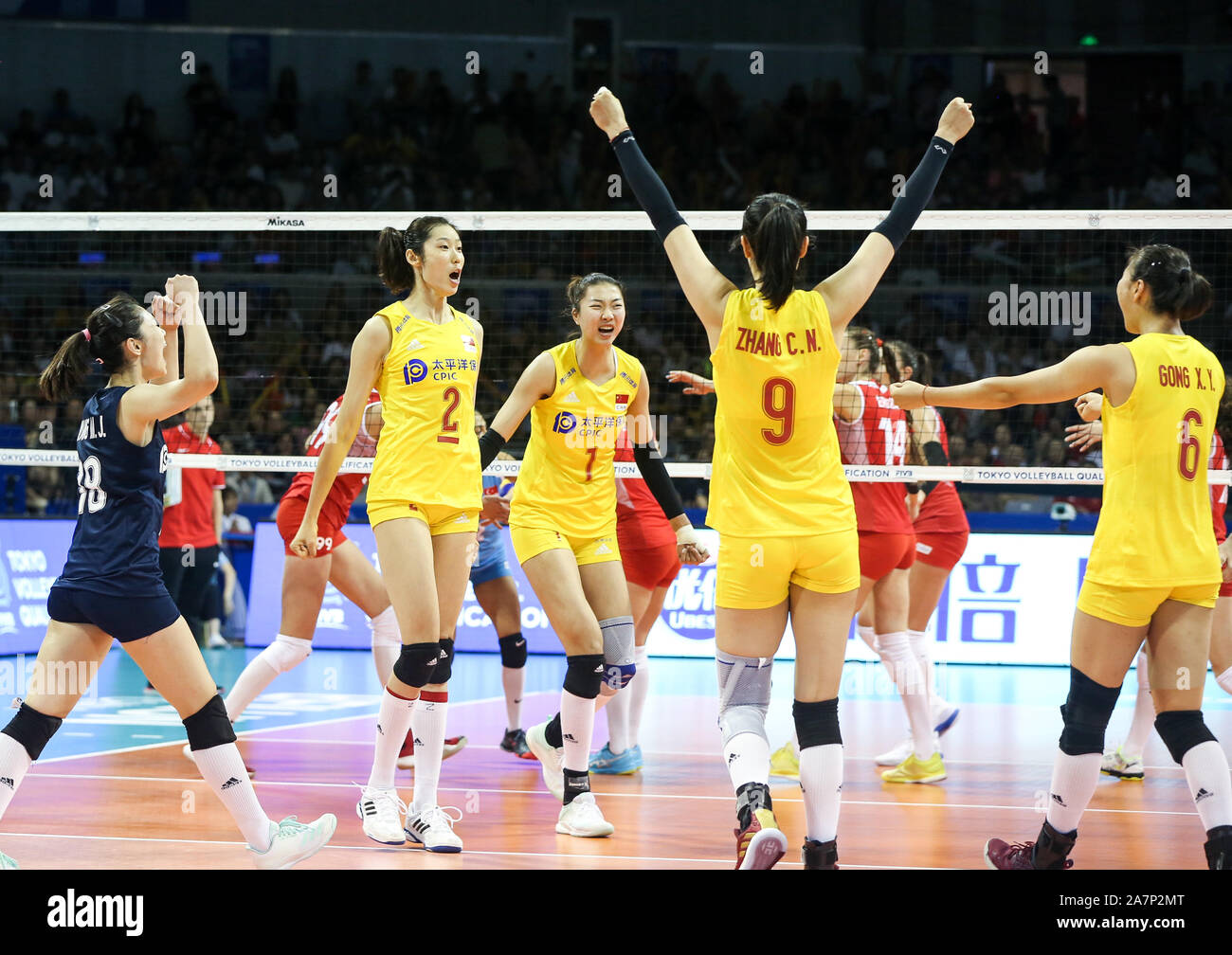 China Women S National Volleyball Team Celebrate After Scoring During The 2019 Fivb Women S Volleyball Intercontinental Olympic Qualification Tourname Stock Photo Alamy