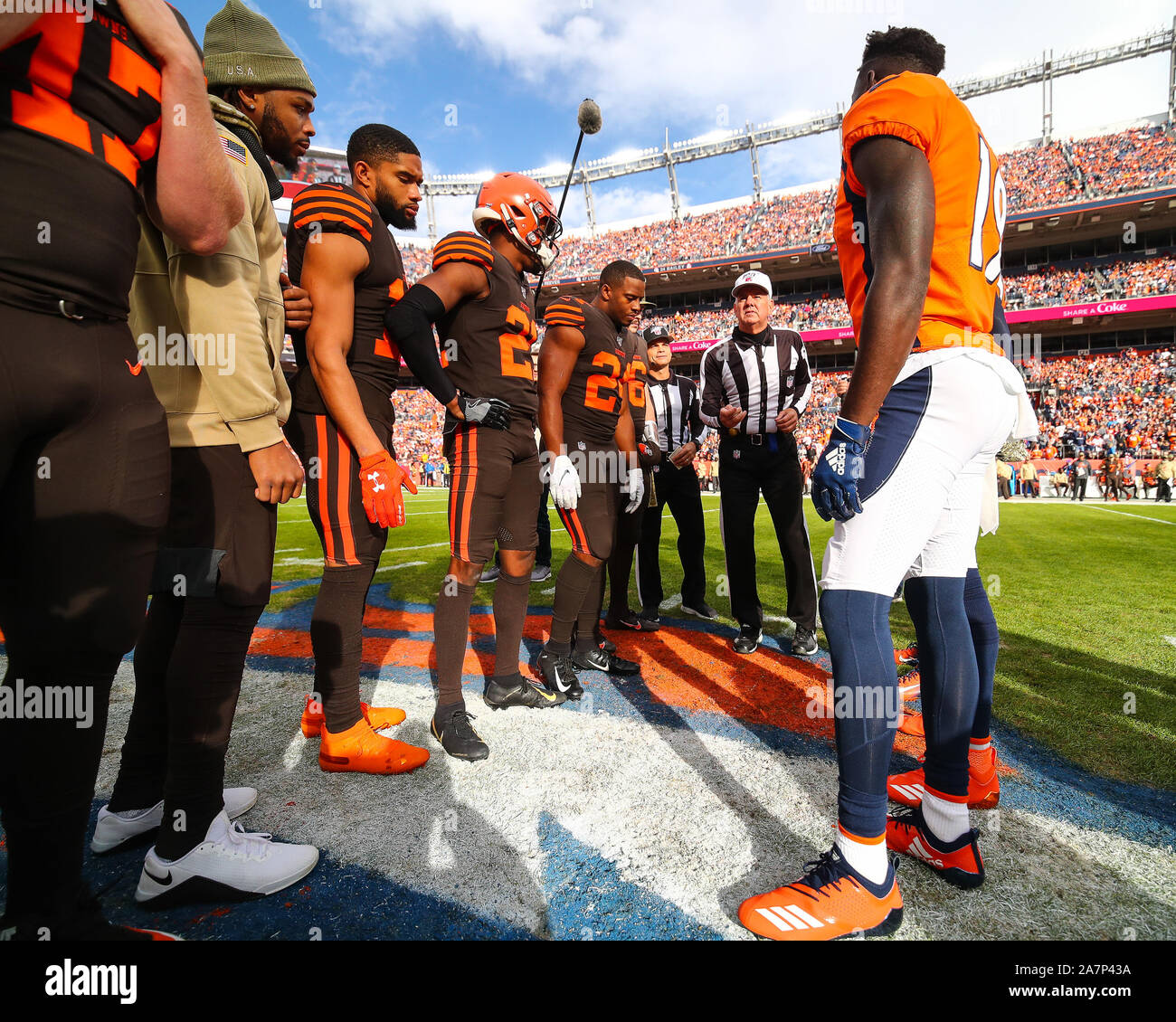 November 03, 2019: The coin toss is held before the game between Denver and Cleveland at Empower Field in Denver, CO. Denver held on to win 24-19. Derek Regensburger/CSM. Stock Photo