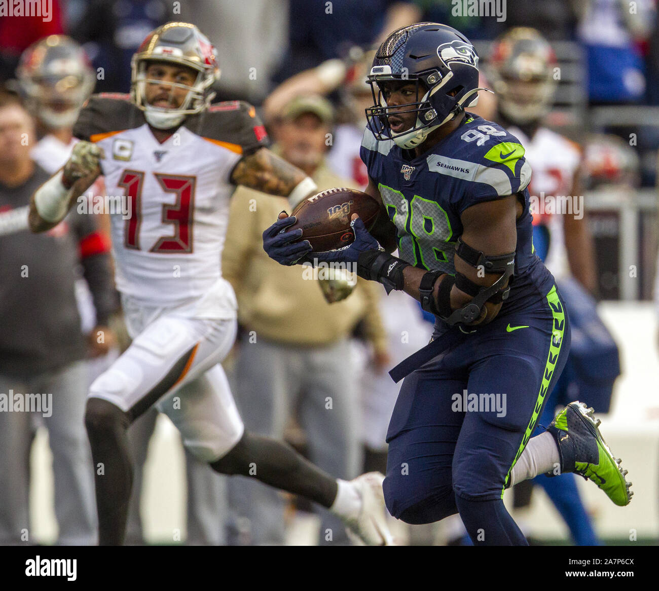 Seattle, United States. 03rd Nov, 2019. Seattle Seahawks defensive end Rasheem Green (98) returned a Tampa Bay Buccaneers quarterback Jameis Winston (3) fumble during the fourth quarter to the Tampa Bay 15-yard line at CenturyLink Field on Sunday, November 3, 2019 in Seattle, Washington. The Seahawks beat the Buccaneers 40-34 in overtime. Jim Bryant Photo/UPI Credit: UPI/Alamy Live News Stock Photo