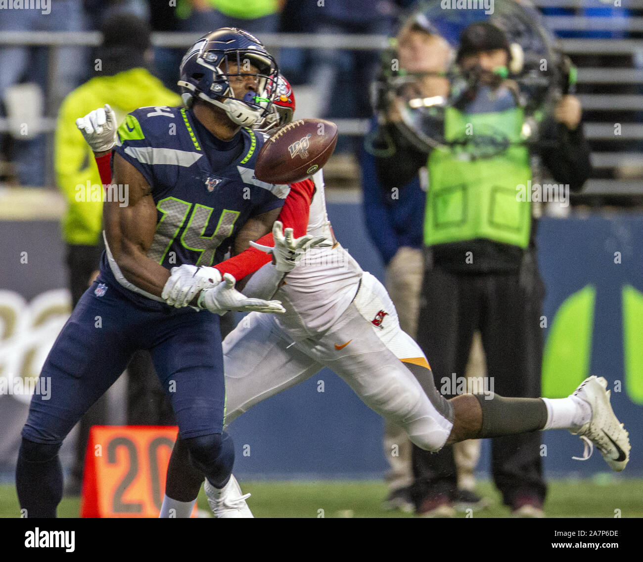 Seattle, United States. 03rd Nov, 2019. Seattle Seahawks wide receiver D.K. Metcalf (14) is interfered from catch a pass by Tampa Bay Buccaneers defensive back Jamel Dean (35) during overtime at CenturyLink Field on Sunday, November 3, 2019 in Seattle, Washington. The Seahawks beat the Buccaneers 40-34 in overtime. Jim Bryant Photo/UPI Credit: UPI/Alamy Live News Stock Photo