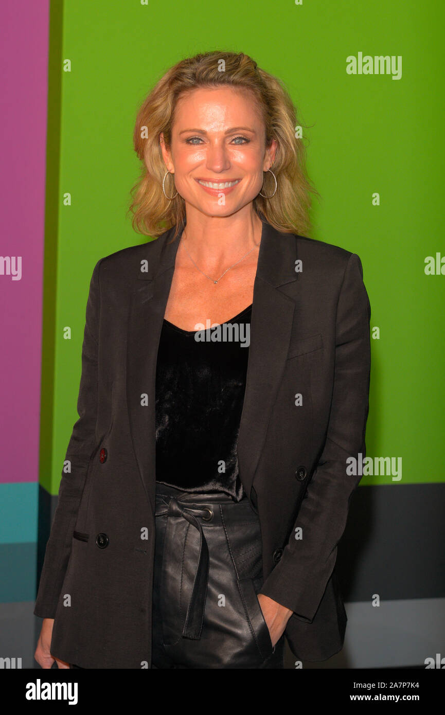 "NEW YORK, NY - OCTOBER 28: Amy Robach attends Apple TV+'s ""The Morning Show"" World Premiere at David Geffen Hall on October 28, 2019 in New York City. Stock Photo"