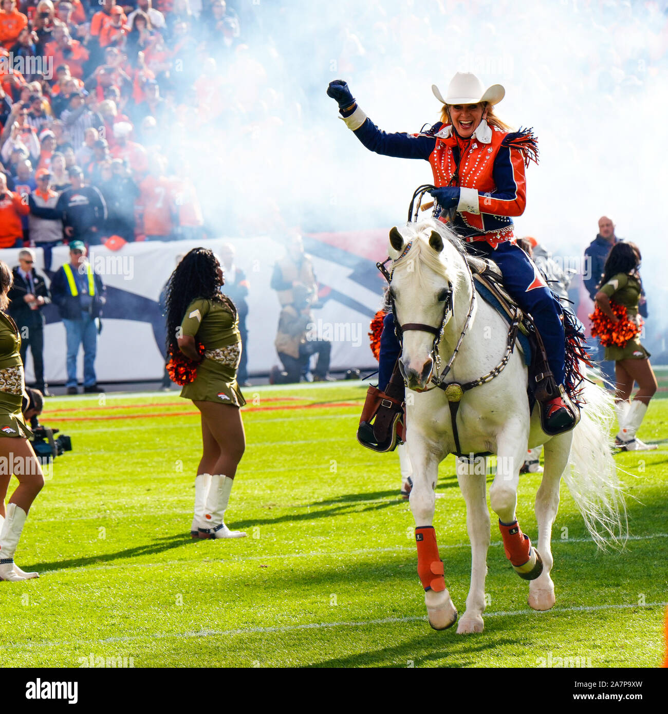 November 03, 2019: Denver Broncos mascot Thunder runs on the field before the game between Denver and Cleveland at Empower Field in Denver, CO. Denver hung on to win 24-19 to improve to 3-6. Derek Regensburger/CSM. Stock Photo