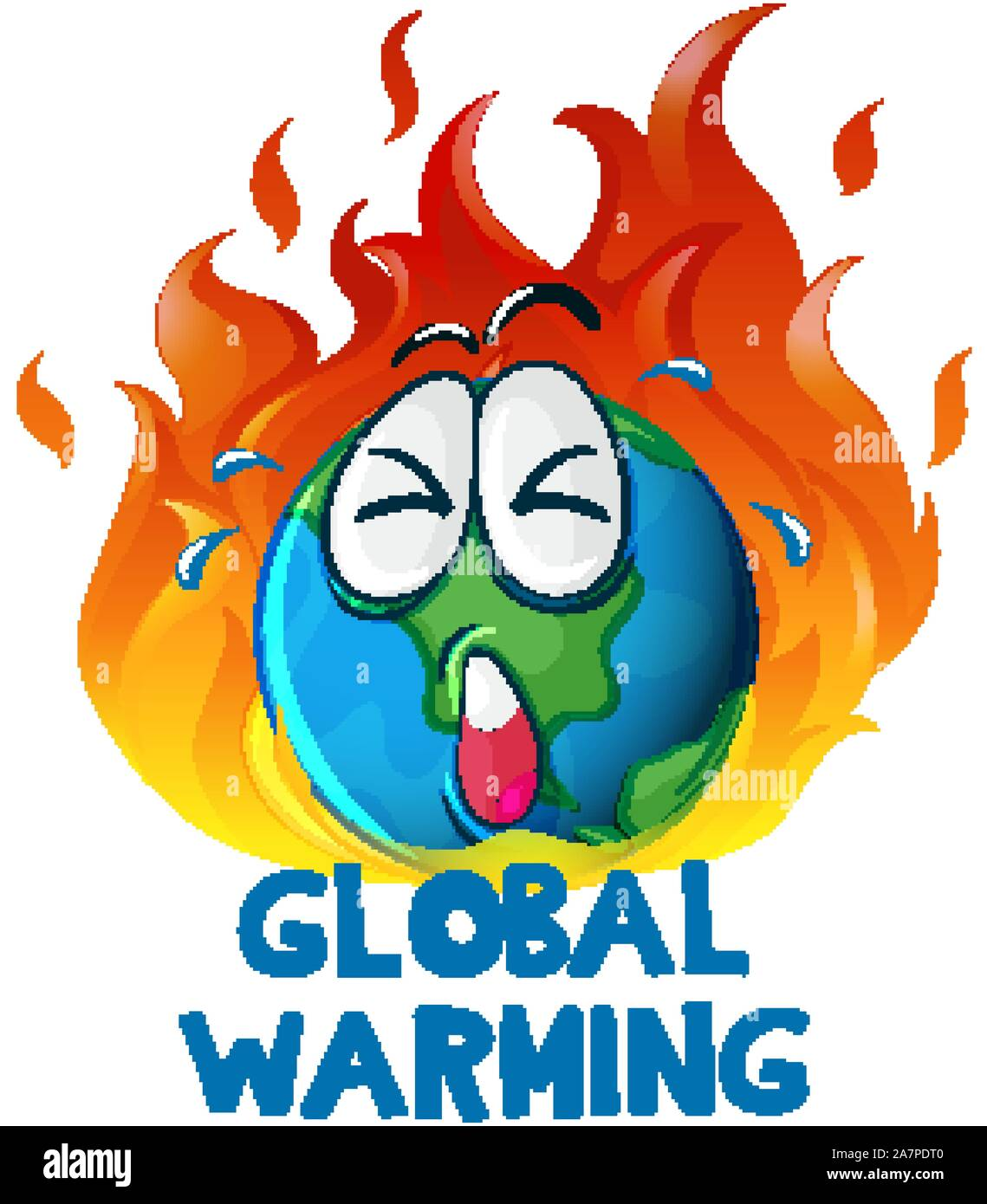 Global Warming With Earth On Fire Illustration Stock Vector Art