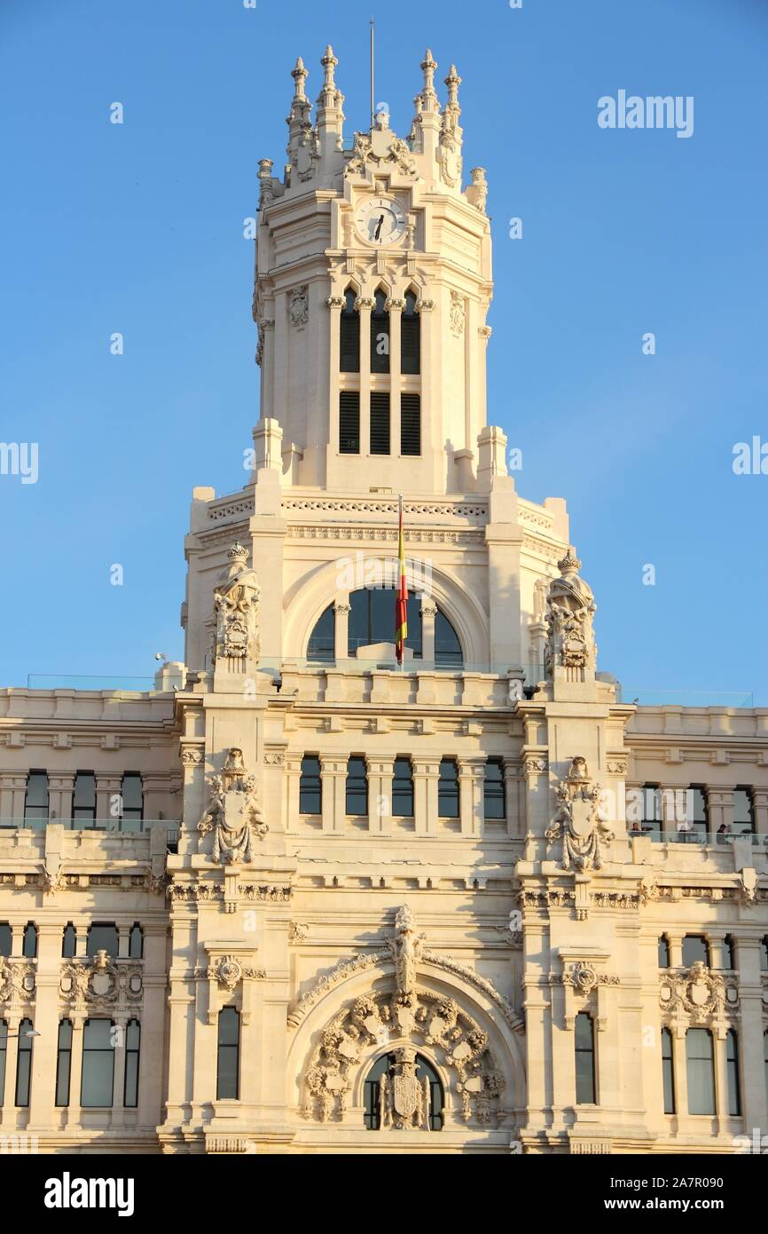 Cibeles Palace In Madrid Spain The City Hall In Cibeles