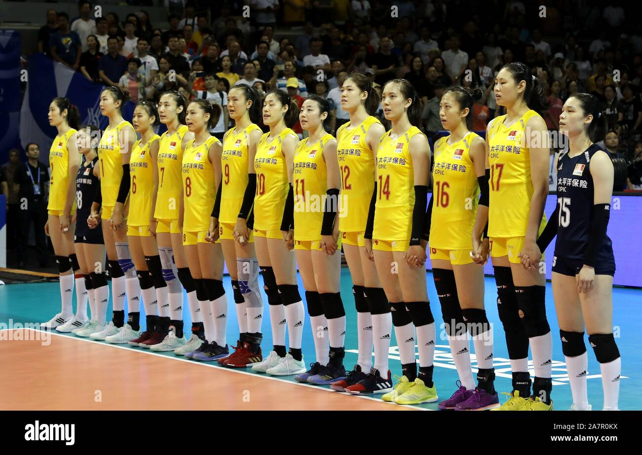China Women S National Volleyball Team Line Up During The 2019 Fivb Women S Volleyball Intercontinental Olympic Qualification Tournament Against Turke Stock Photo Alamy