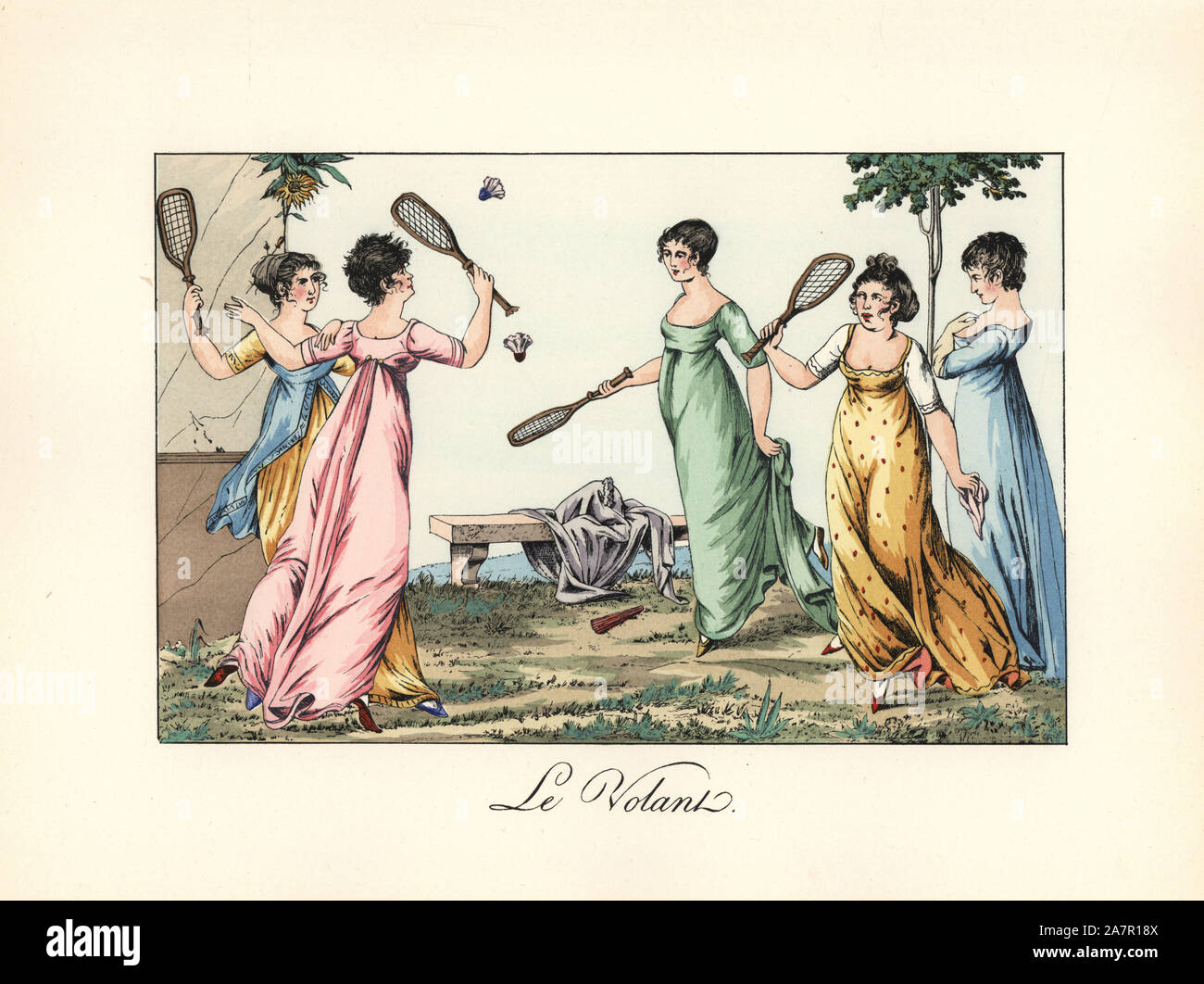 Elegant ladies or meveilleuses playing badminton in a garden. Several have their hair in the fashionable short cut known as the martyr or victime. Illustration by Dominique Bosio from Pierre de la Mesangere's Le Bon Genre. Handcoloured lithograph from Henry Rene Allemagne's Sports and Games of Skill (Sports et Jeux d'Adresse), Librairie Hachette, Paris, 1903. Stock Photo