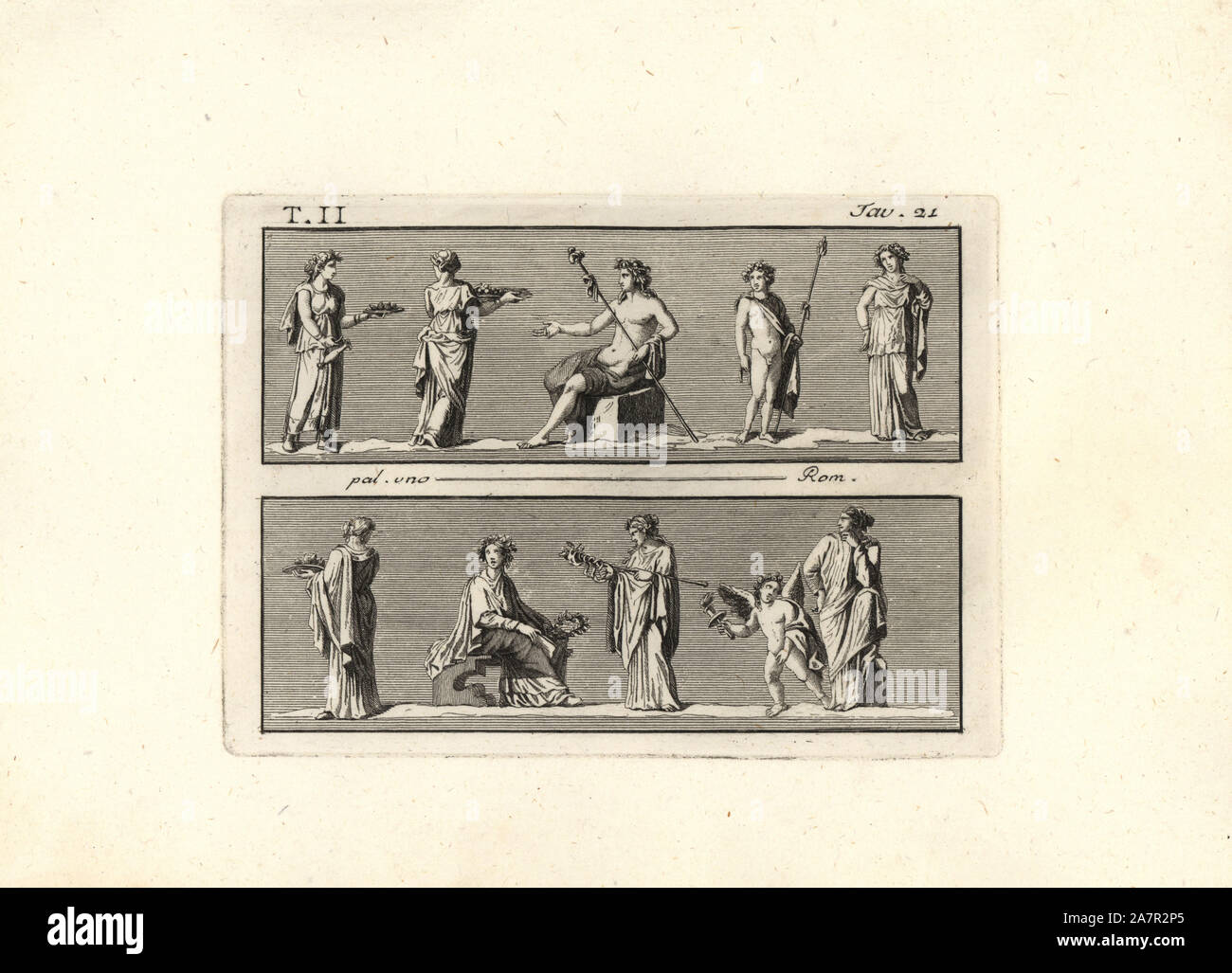 Bacchic rite. Women offering figs on platters to Bacchus, and seated woman in an initiation rite accompanied by a genius of Ceres (boy with wings). Copperplate engraving by Tommaso Piroli from his Antiquities of Herculaneum (Antichita di Ercolano), Rome, 1789. Stock Photo