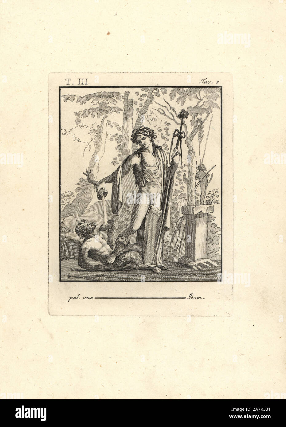 Bacchus with thyrsus, tripod horn and crown of leaves standing in a forest. He stands on a drunken satyr in front of a statue of Priapus. Copperplate engraving by Tommaso Piroli from his Antiquities of Herculaneum (Antichita di Ercolano), Rome, 1790. Stock Photo