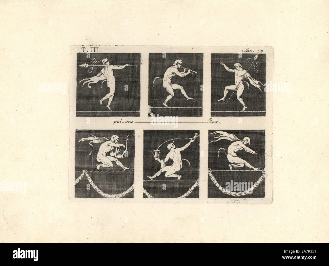 Six satyrs or fauns performing on a tightrope. Two carry a thyrsus, one plays a tibia, one plays a lyre, one pours wine from one vase to another, and one balances with his hands together. Copperplate engraving by Tommaso Piroli from his Antiquities of Herculaneum (Antichita di Ercolano), Rome, 1790. Stock Photo