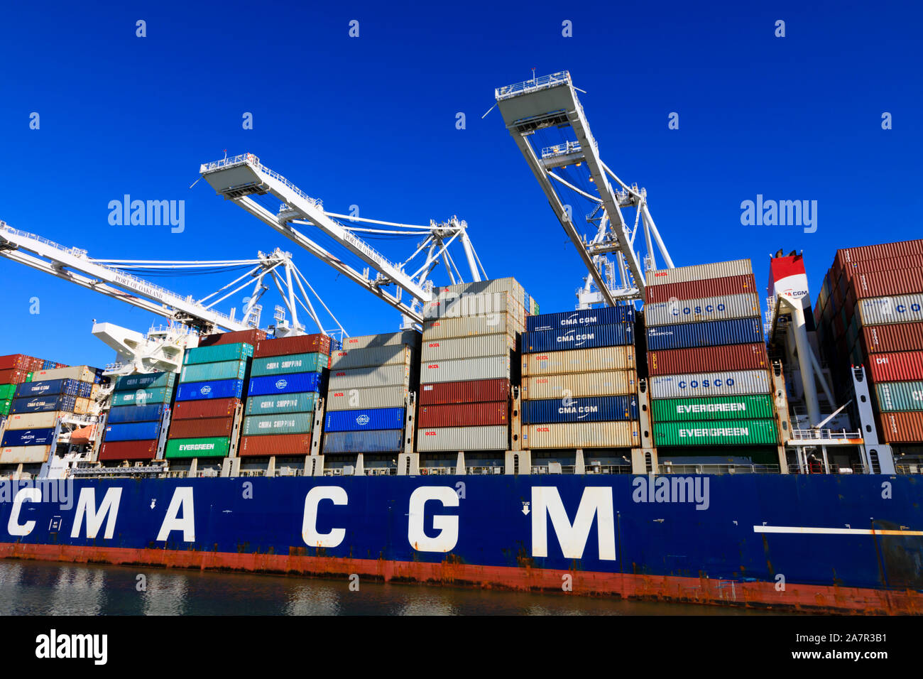 French owned, CMA CGM container ship being loaded, Port of Oakland, Alameda County, California, United States of America. Stock Photo