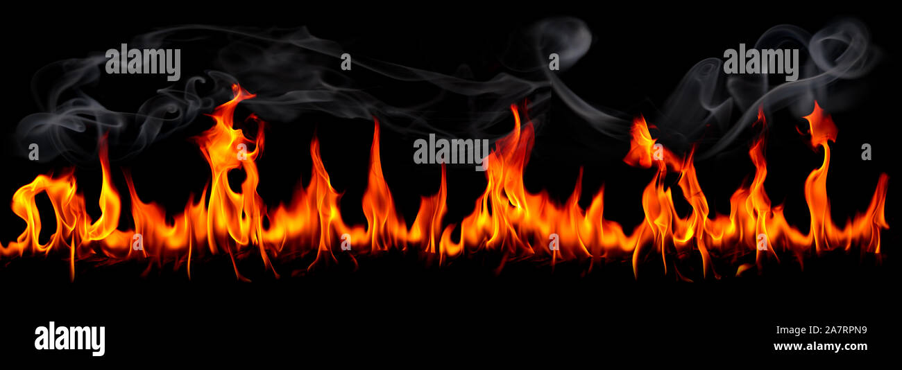 Hot fire flames on abstract art black background Stock Photo