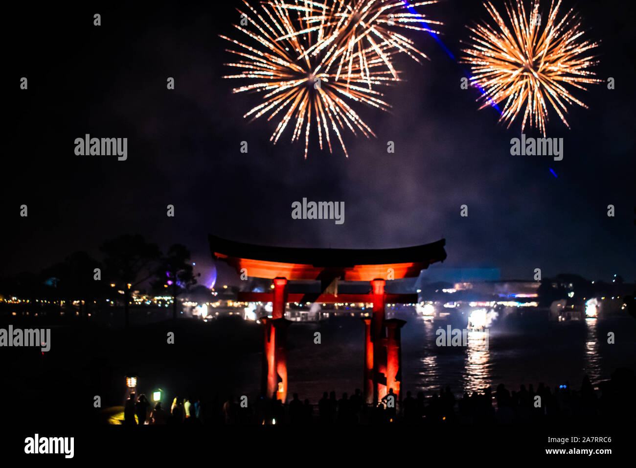 Orlando, Florida. November 01, 2019. Japanese arch and spectacular fireworks at night background in Epcot (87). Stock Photo