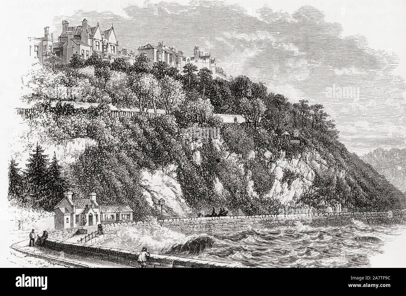 Torquay, Devon, England, seen here in the 19th century.   From English Pictures, published 1890. Stock Photo