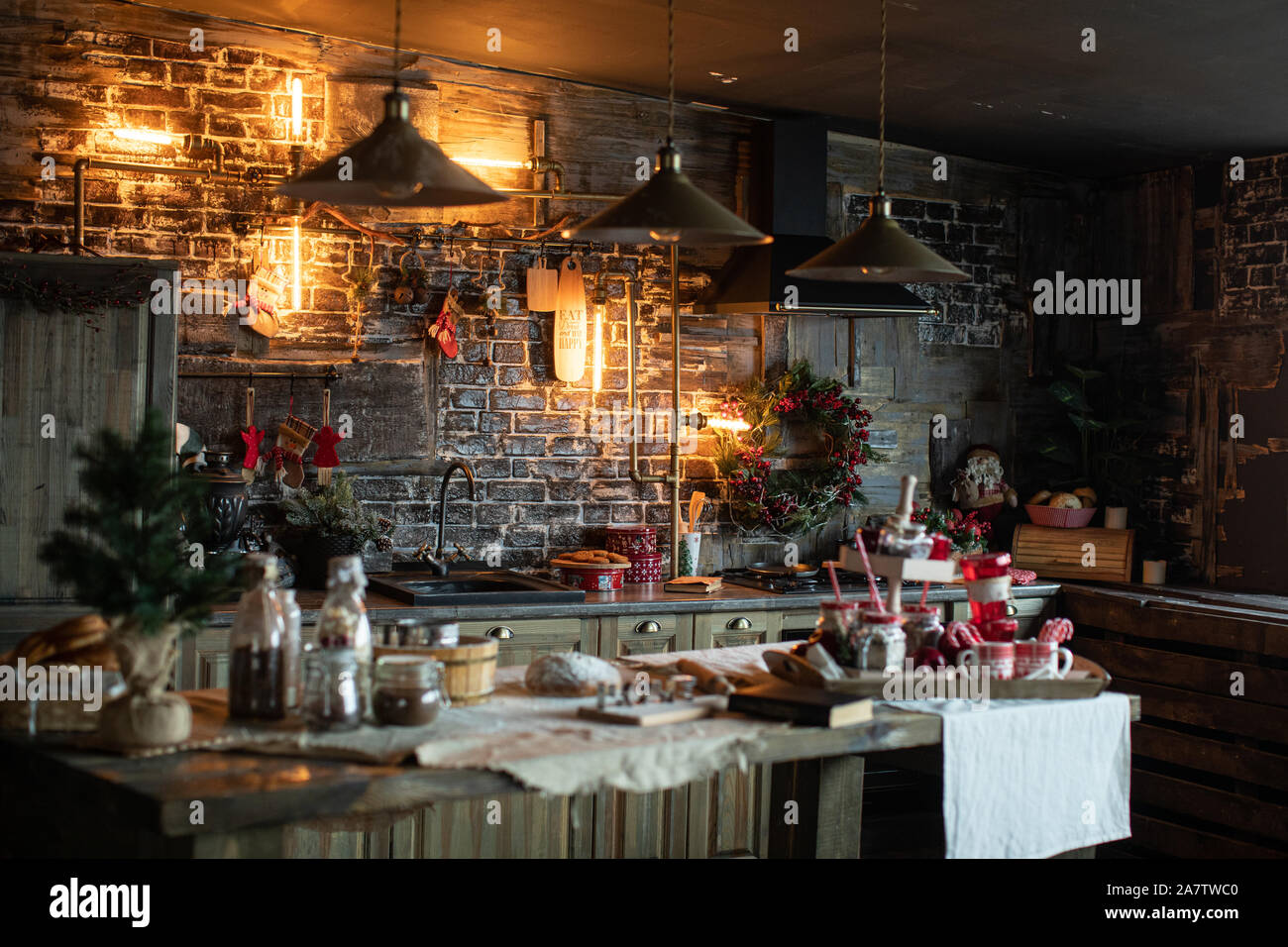 Cozy And Warm Kitchen With Christmas Decor Happy New Year Stock Photo Alamy