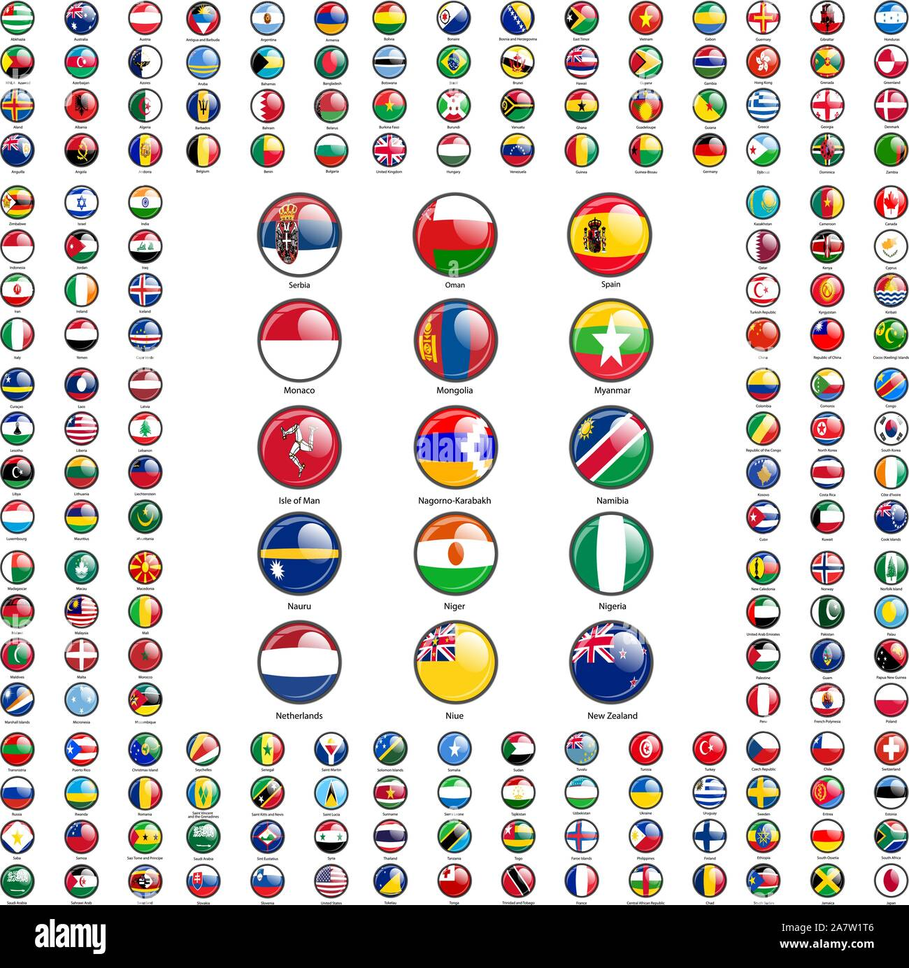 Set circle icon Flags of world sovereign states signed by the countries names. Stock Vector