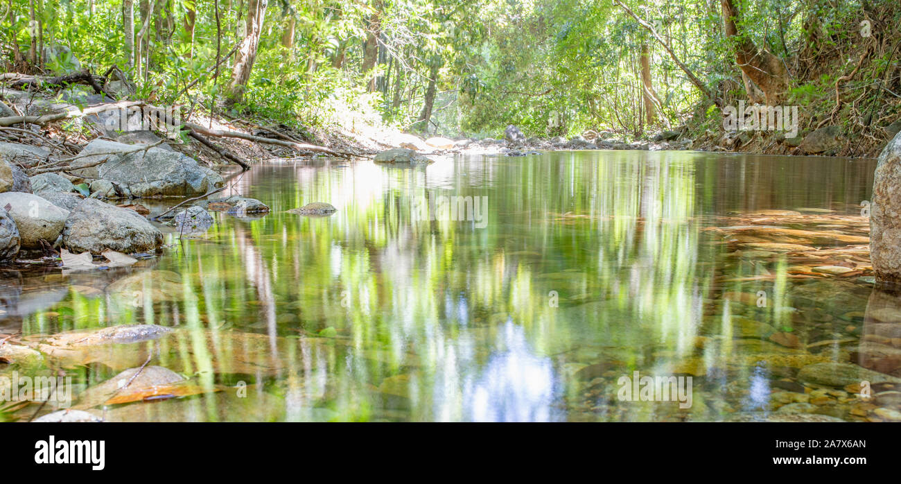 Mountain spring water, stream between rocks and stones, brook, creek. Thailand, island Koh Chang. Stock Photo