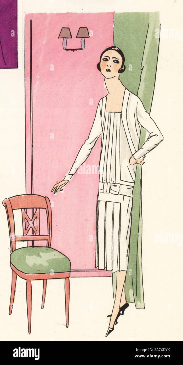 Woman in white afternoon dress. Handcolored pochoir (stencil) lithograph from the French luxury fashion magazine Art, Gout, Beaute, 1925. Stock Photo