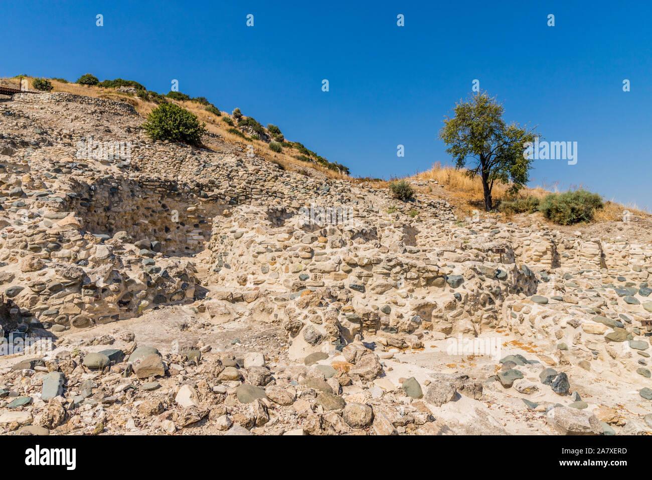 The neo lithic village of Choirokoitia in cyprus Stock Photo