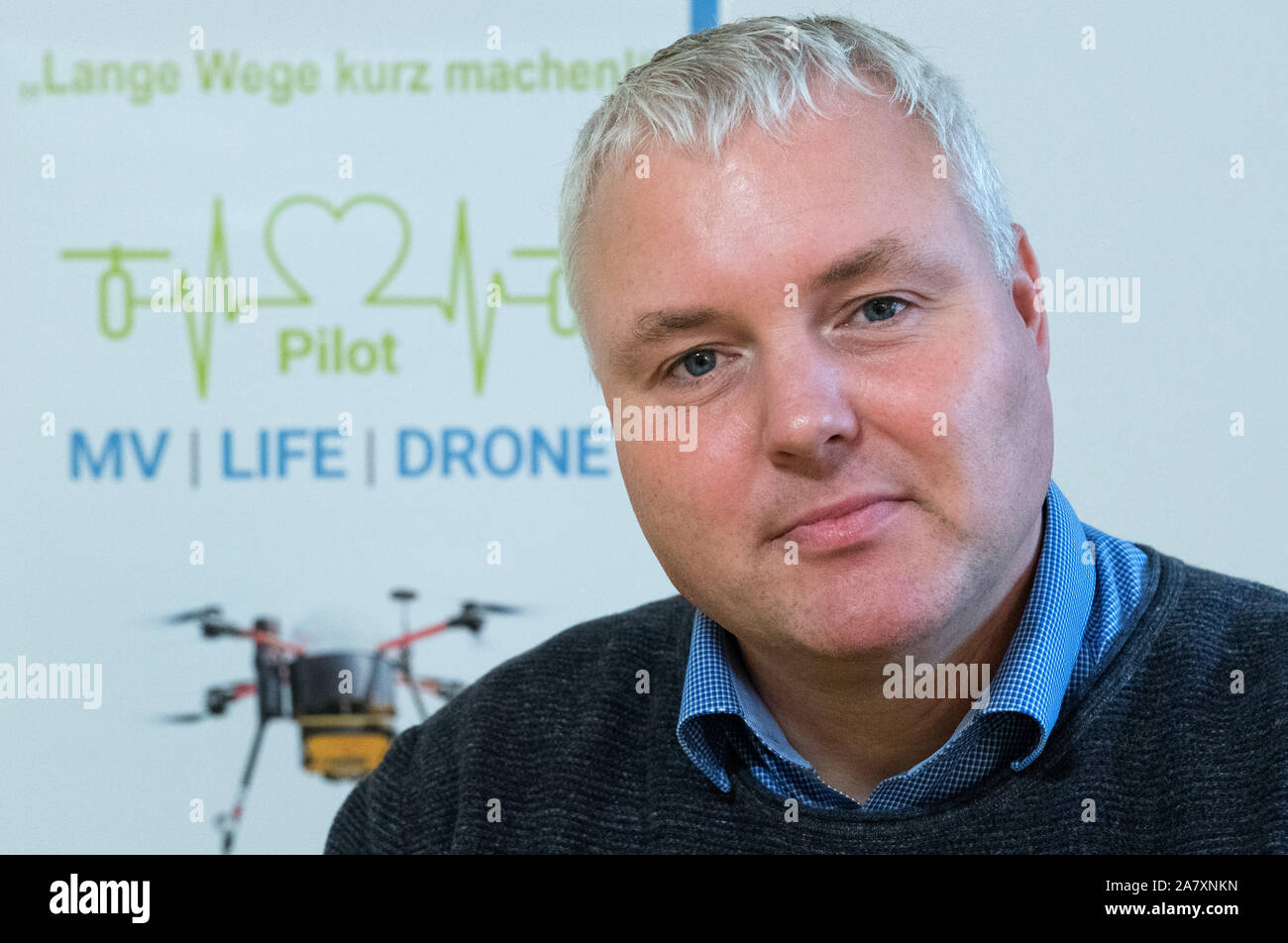 Penkun, Germany. 04th Nov, 2019. Klaus Hahnenkamp, Director of the Clinic for Anaesthesiology at Greifswald University Hospital, admitted to Penkun. A project team at Greifswald University Hospital is planning to fly defibrillators with drones to patients and medically trained first responders. The aim is to develop a system that deploys drones in such a way that they close the gaps in primary care in the countryside. In the district of Vorpommern-Greifswald a feasibility study is now starting. Credit: Stefan Sauer/dpa-Zentralbild/dpa/Alamy Live News Stock Photo