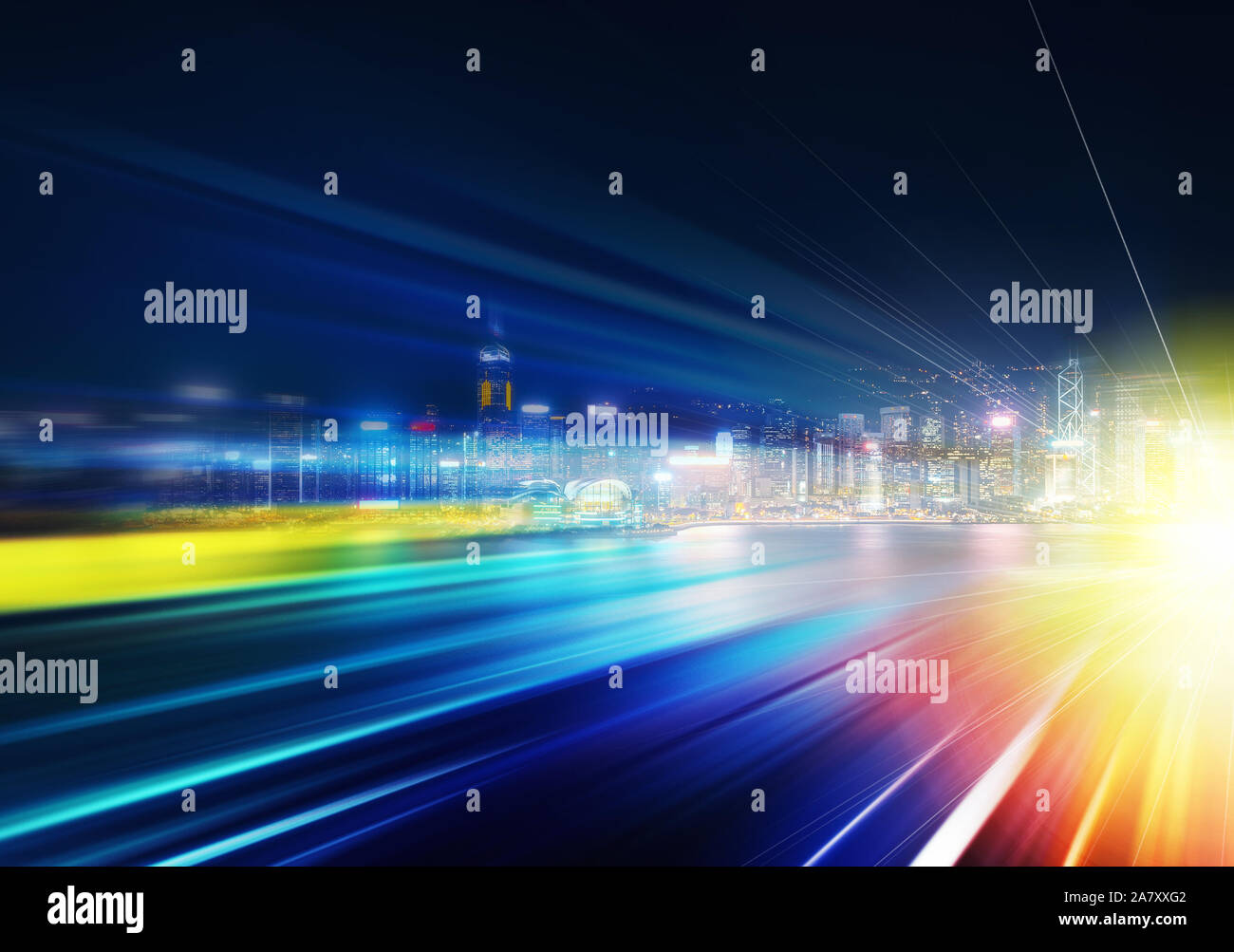 Abstract colorful circular bokeh with city background. Double exposure Stock Photo