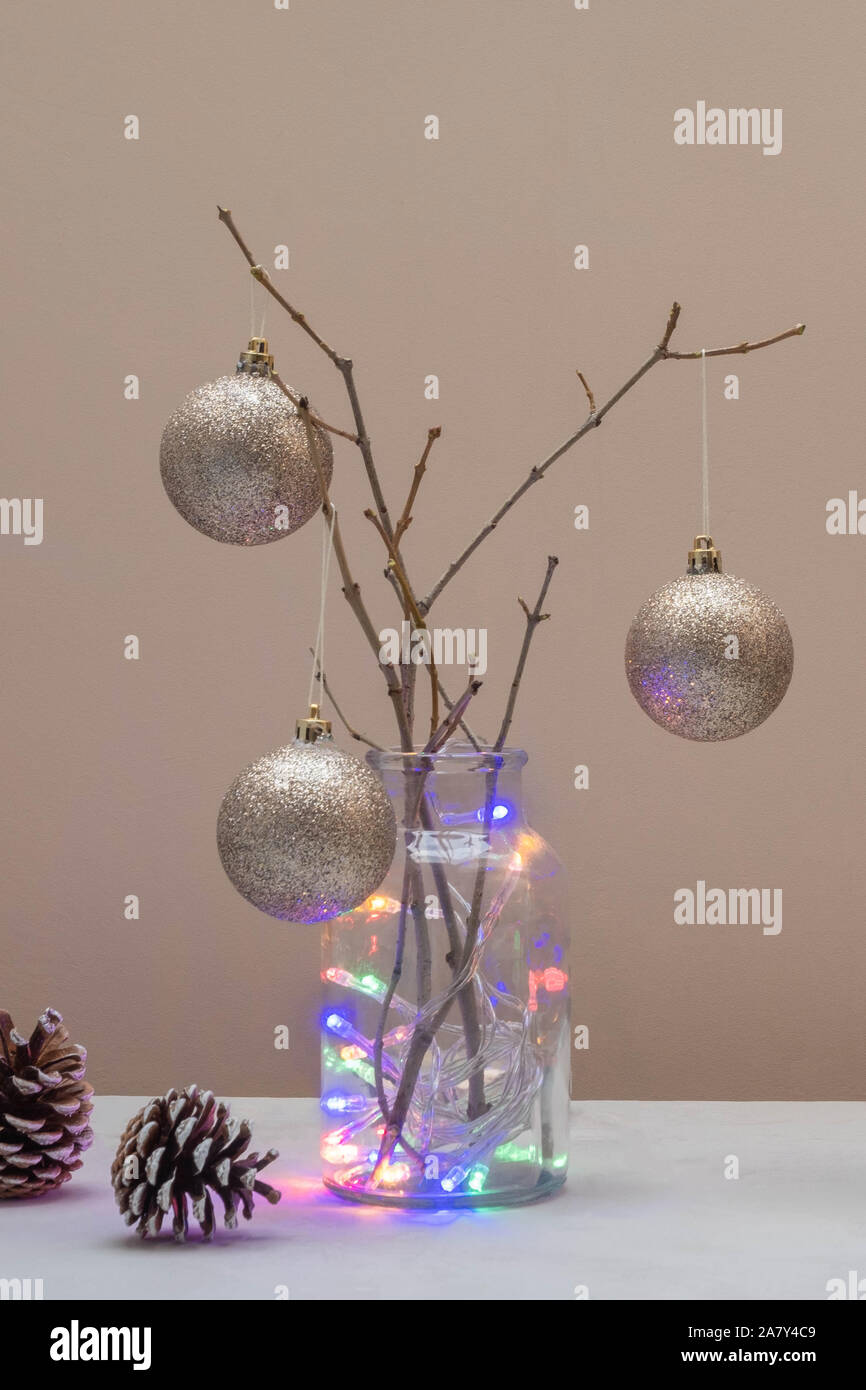Alternative Christmas Tree Concept Christmas Tree Made From Branches And Decorated With Golden Balls Stock Photo Alamy