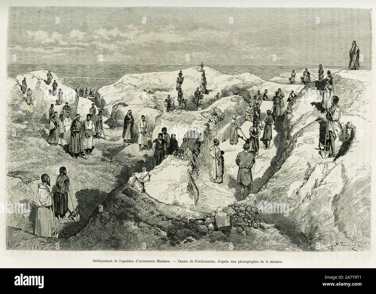 Deblaiement de l'apanada d'Artaxerxes Mnemon ( 404-358 avant notre ere) roi de Perse. Gravure de Ferdinandus, pour illustrer le recit A Suse, 1884-188 Stock Photo