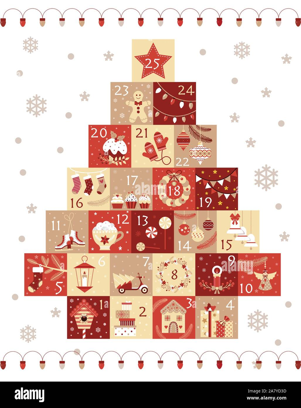 Christmas Advent Calendar with Xmas Day Numbers Stock Vector Image