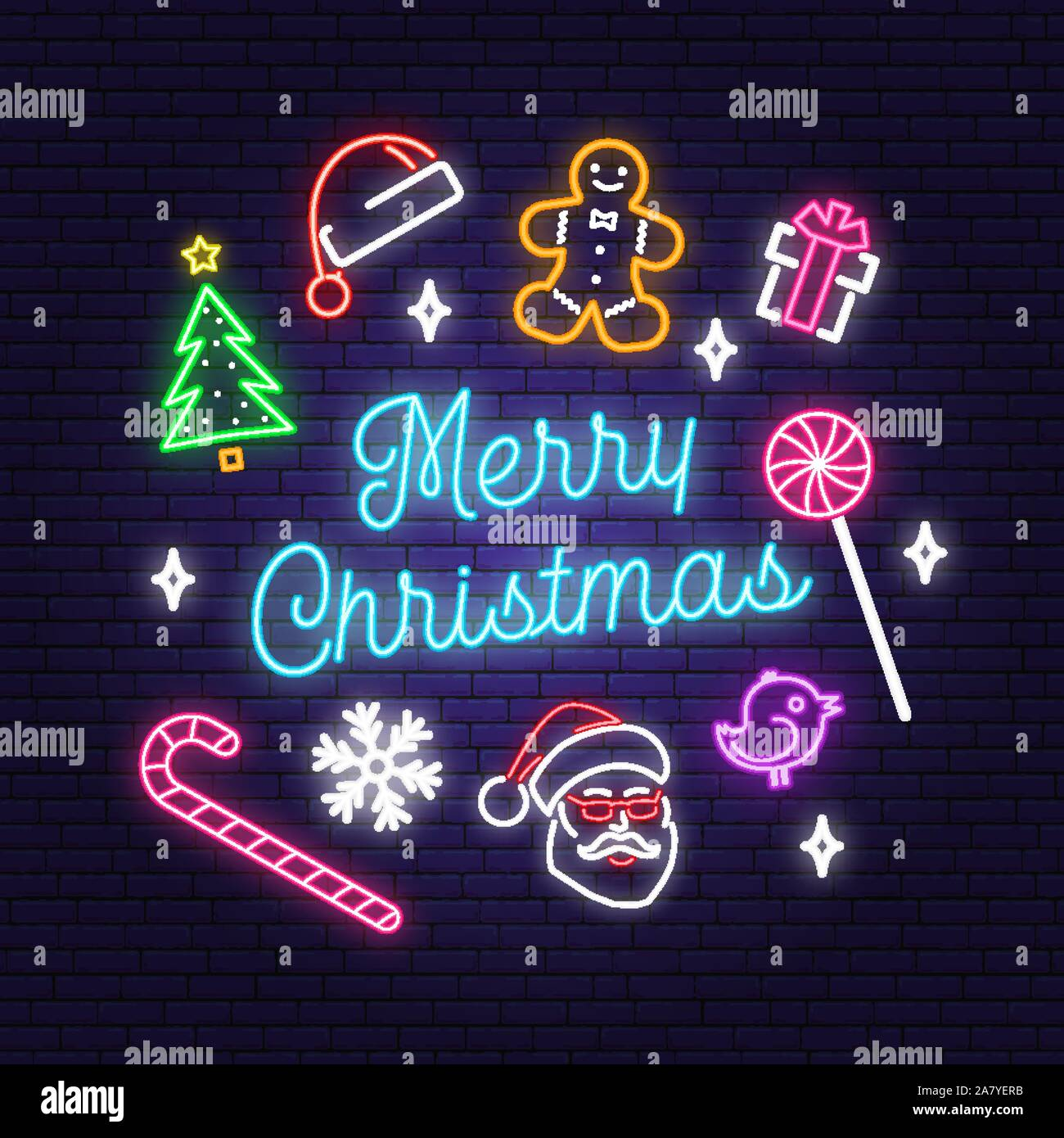Merry Christmas 2020 Logo Merry Christmas and 2020 Happy New Year neon sign with christmas