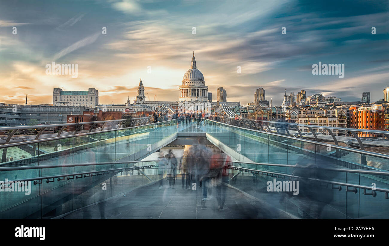 Long exposure of sunset over St Paul's and The Millennium bridge in London. Stock Photo