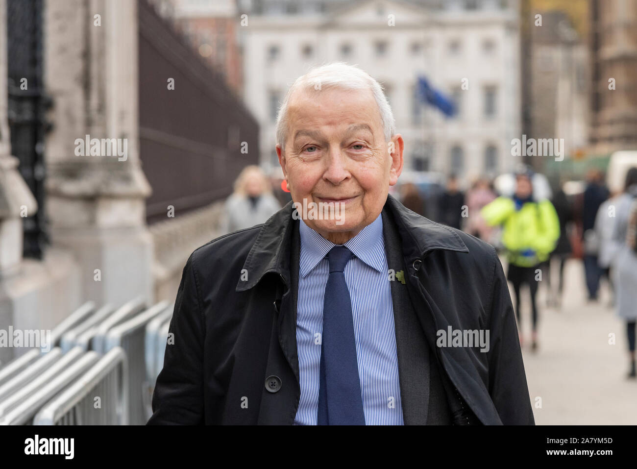 Westminster, London, UK. 5th Nov, 2019. Members of Parliament are arriving at the House of Commons for their last day of debates before Parliament is dissolved in preparation for the general election on 12th December, beginning a period known as 'purdah' when no major policy announcements or significant commitments will be made. Frank Field MP arriving Stock Photo