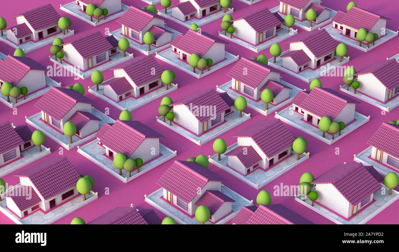 Cottage village. 3d rendering 3d illustration Stock Photo