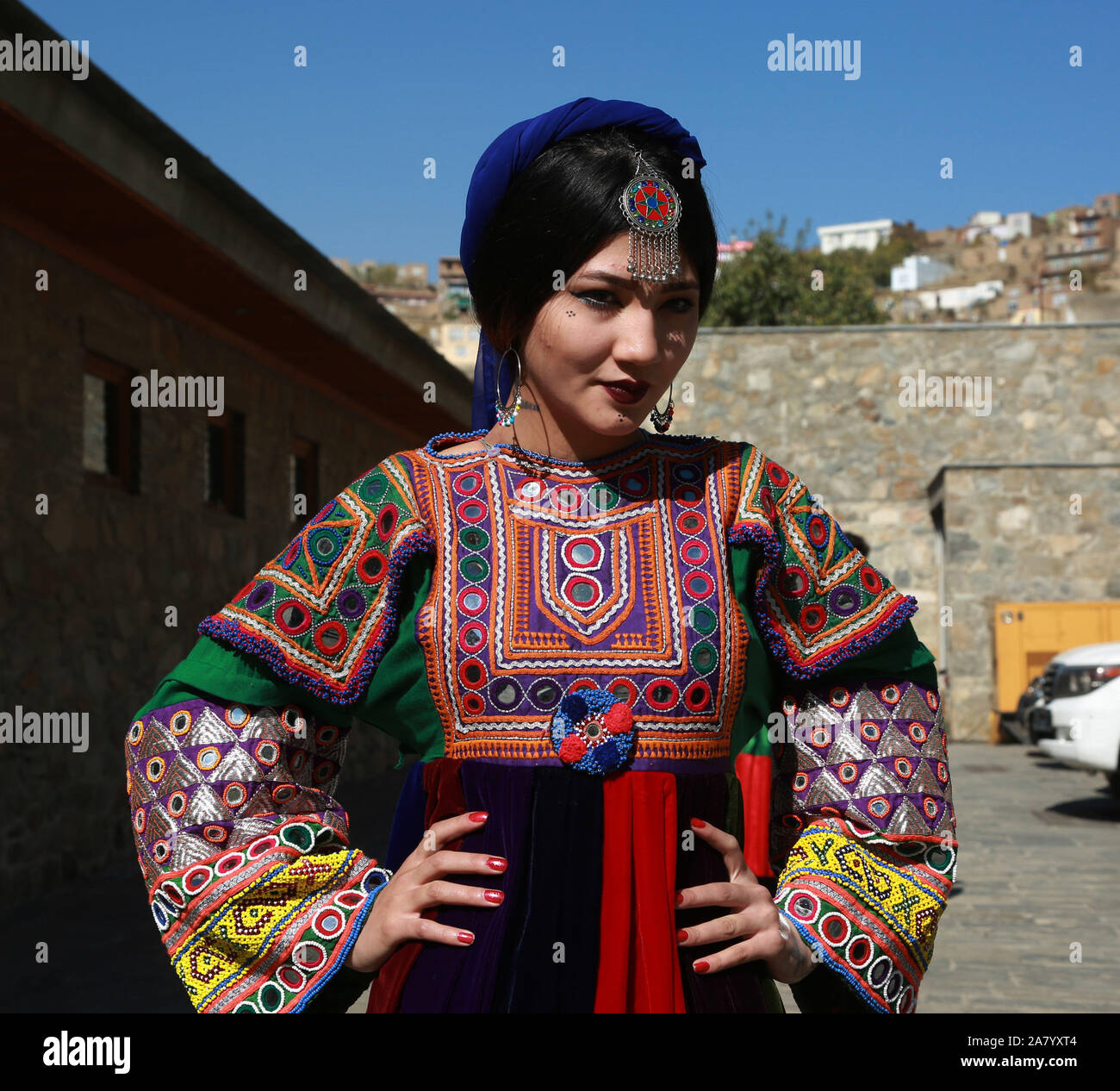 Kabul Afghanistan 4th Nov 2019 A Model Poses For Photos After Presenting Costumes Of Ethnic People In Afghanistan During A Fashion Show In Kabul Capital Of Afghanistan Nov 4 2019 Credit Rahmatullah