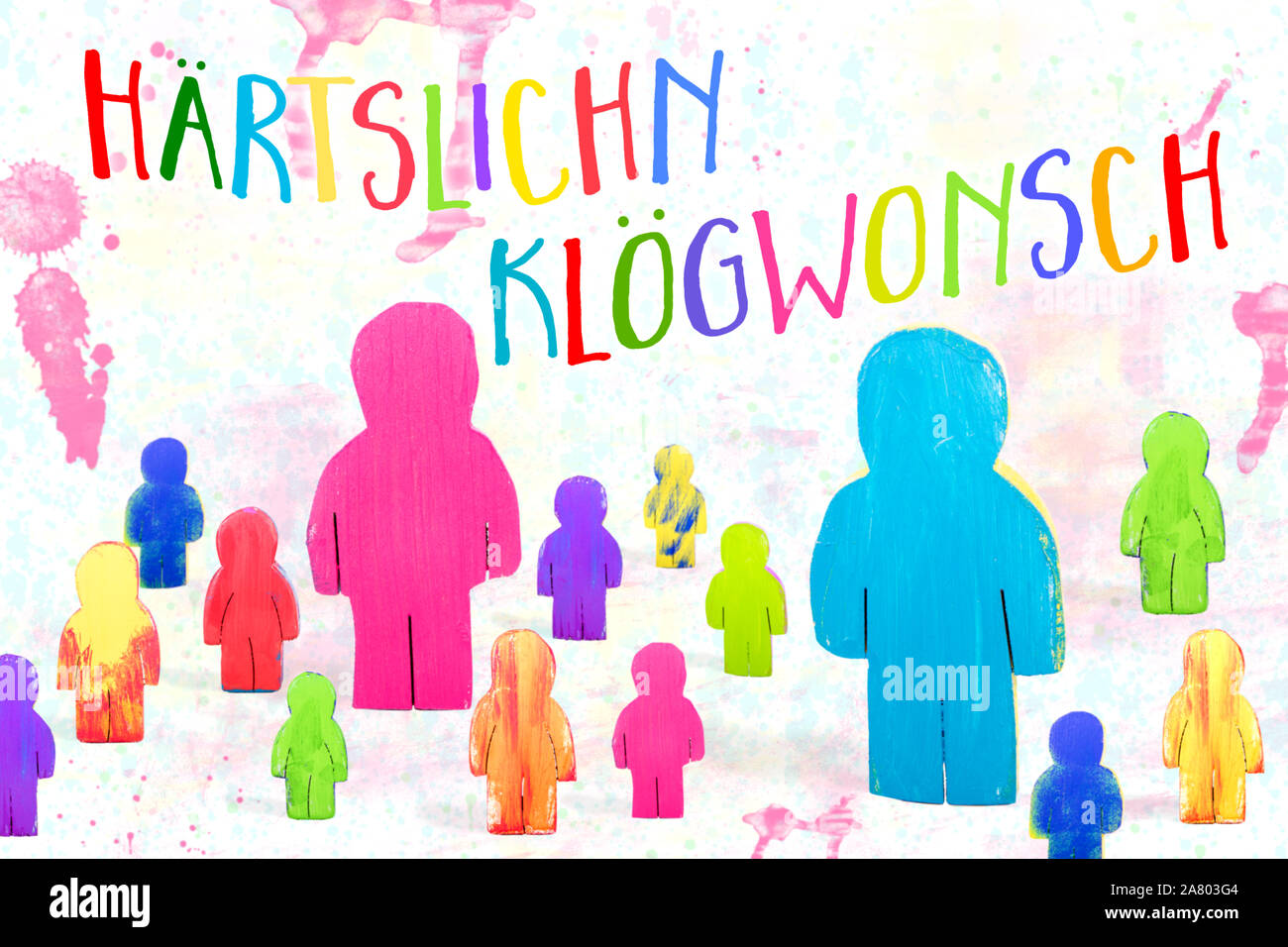 Funny Birthday Greeting Card Colorful Wooden Figures German Text Haertslichn Kloegwonsch Which Means Happy Birthday Stock Photo Alamy