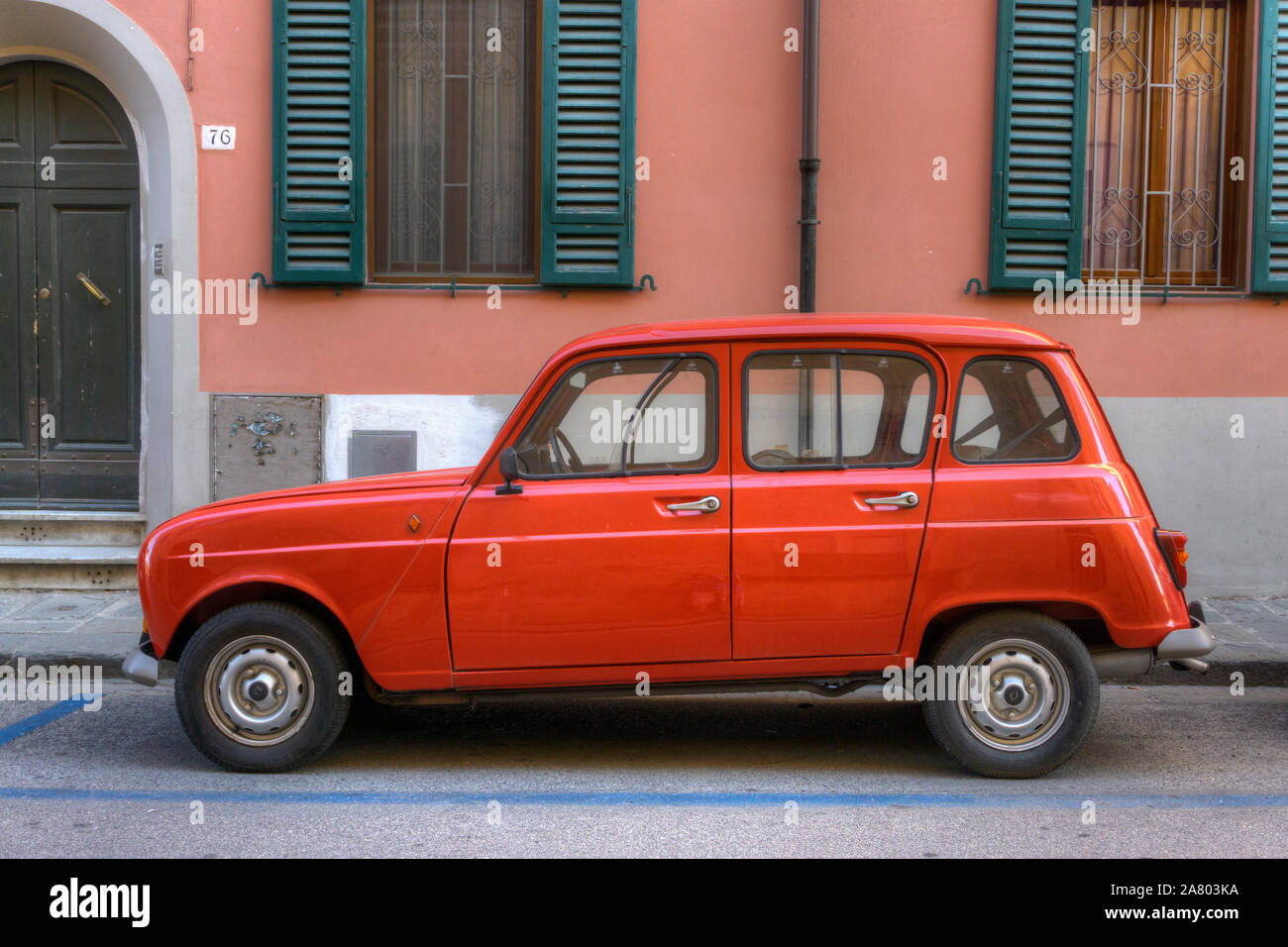 Red Renault 4 Car Parked Street Pink Colored Building Stock Photo Alamy