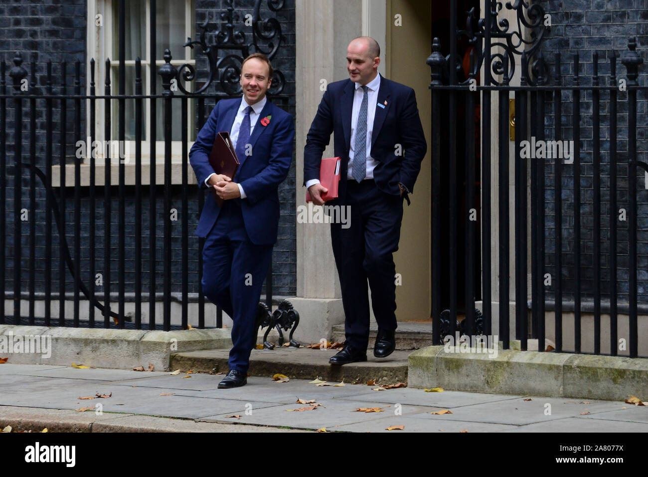 London, UK. 5th November 2019. Health Secretary Matt Hancock and  Minister for the Northern Powerhouse Jake Berry, leaving Downing Street after a Cabinet Meeting. Claire Doherty/Alamy Live News. Stock Photo