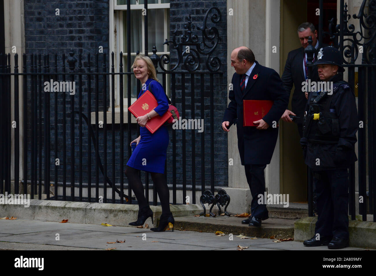 London, UK. 5th November 2019. Elizabeth Truss, International Trade Secretary leaving Downing Street after a Cabinet Meeting. Claire Doherty/Alamy Live News. Stock Photo
