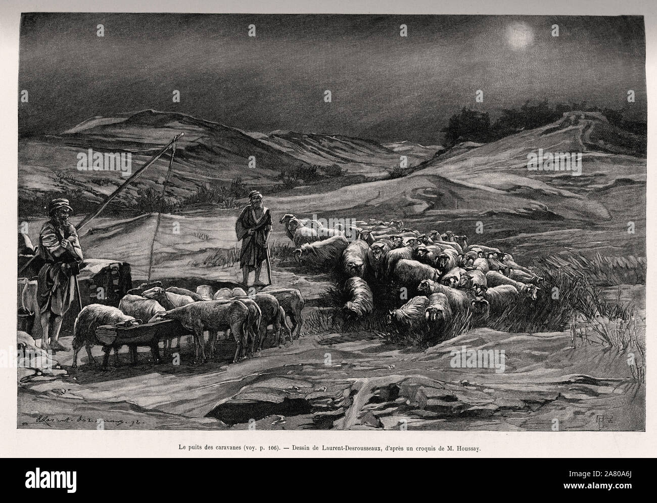 """Le puits des caravanes. Gravure de Laurent Desrousseaux pour illustrer le recit """"A travers la Perse meridionale"""", par le C.Babin et F.Houssay, en 1885 Stock Photo"""