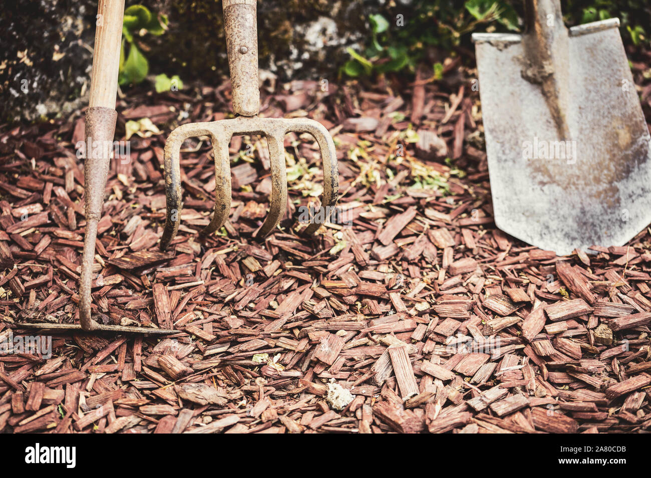 Old An Dirty Gardening Tools Or Garden Equipments Standing On The