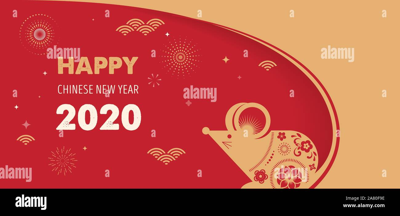 Korean New Year 2020.Happy Chinese New Year Design 2020 Rat Zodiac Cute Mouse