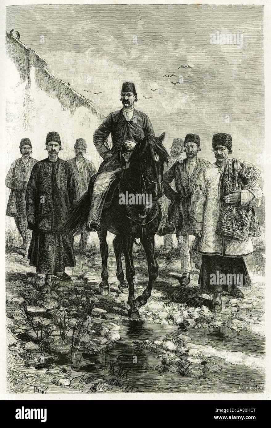 Le gouverneur de Kachan (ou Kashan, dans la province de Teheran, actuelle Iran) monte sur un cheval noir et sa suite a pied. Gravure de Tofani, d'apre Stock Photo