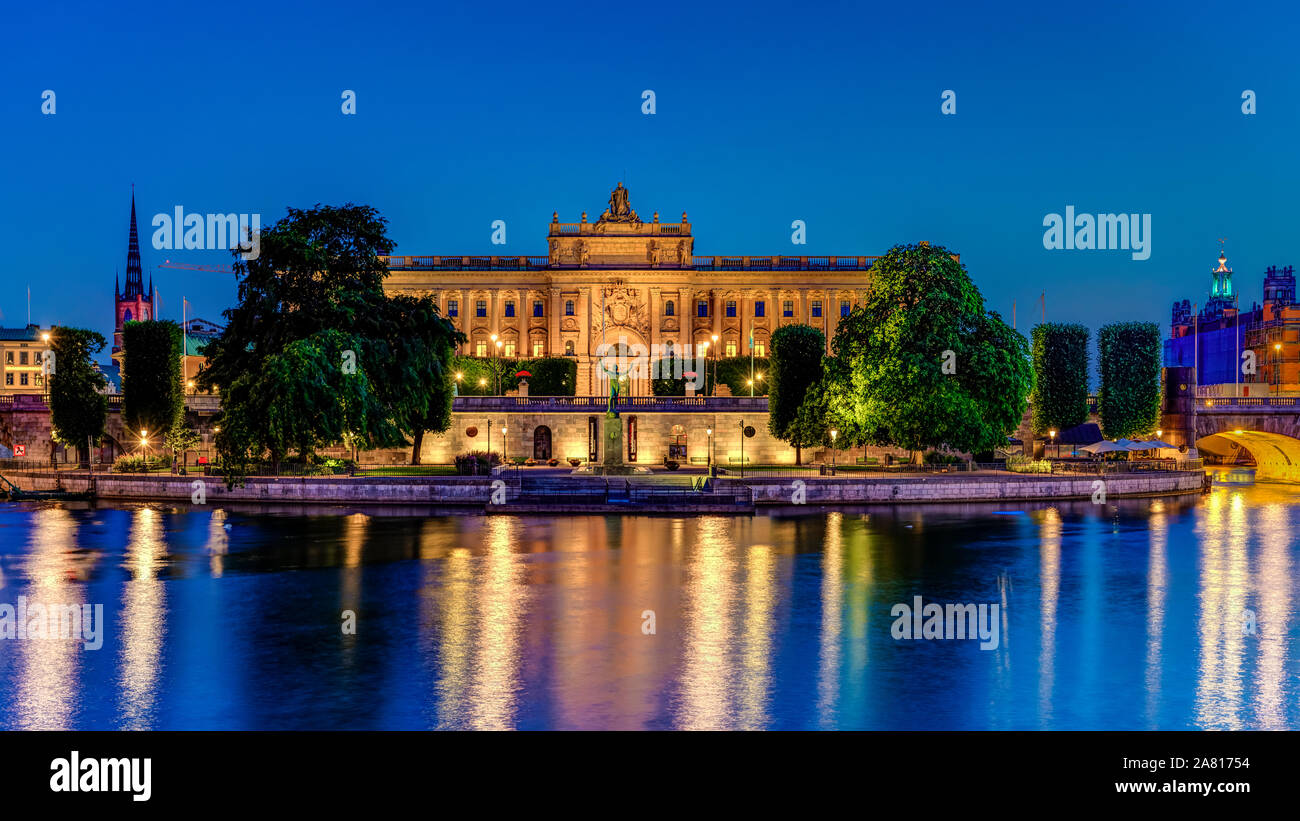 The Parliament House building  at night in Stockholm, Sweden. Stock Photo